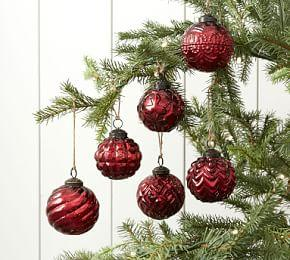 Mercury Glass Adorned Ornament Set of 6 - Red