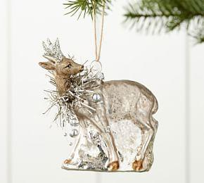 Mercury Glass Tinsel Reindeer Ornament