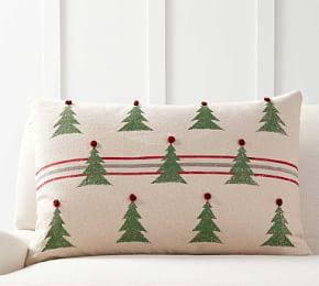 Mini Tree Striped with Pom Poms Cushion Cover