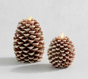 Premium Flicker Flameless Pinecone Wax Candle