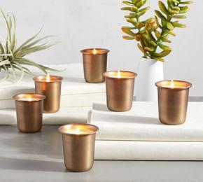Vintage Gold Votive Candles - Set of 6