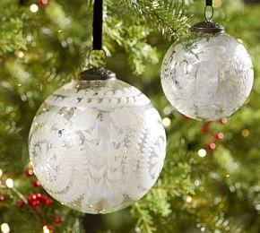 Etched Mercury Glass Ornament - Silver