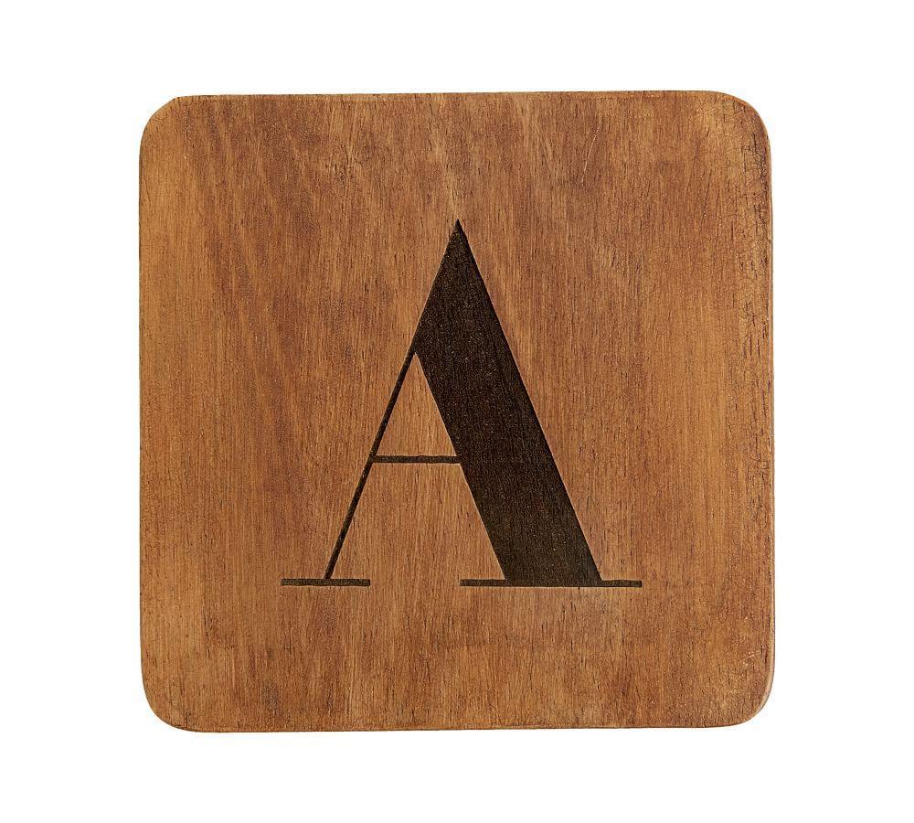 Alphabet Wood Coasters, Set of 4