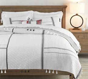 Nellie Pickstitch Tassel Quilt & Pillowcases - Charcoal