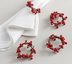 Holly Berry Napkin Rings, Set of 4