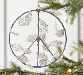 Beaded Leaf Peace Sign Ornament