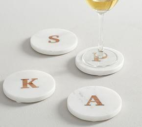 Alphabet Marble and Wood Coasters