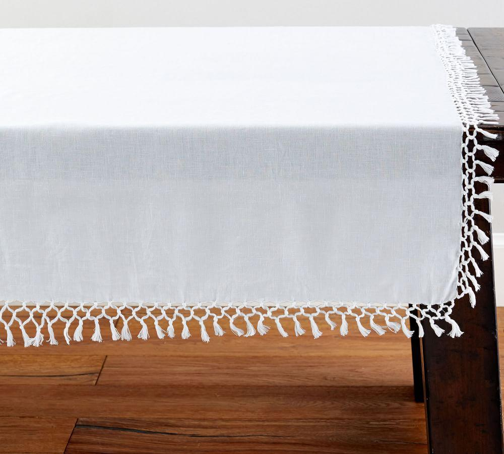 Belgian Linen Fringe Knotted Table Throw White Pottery