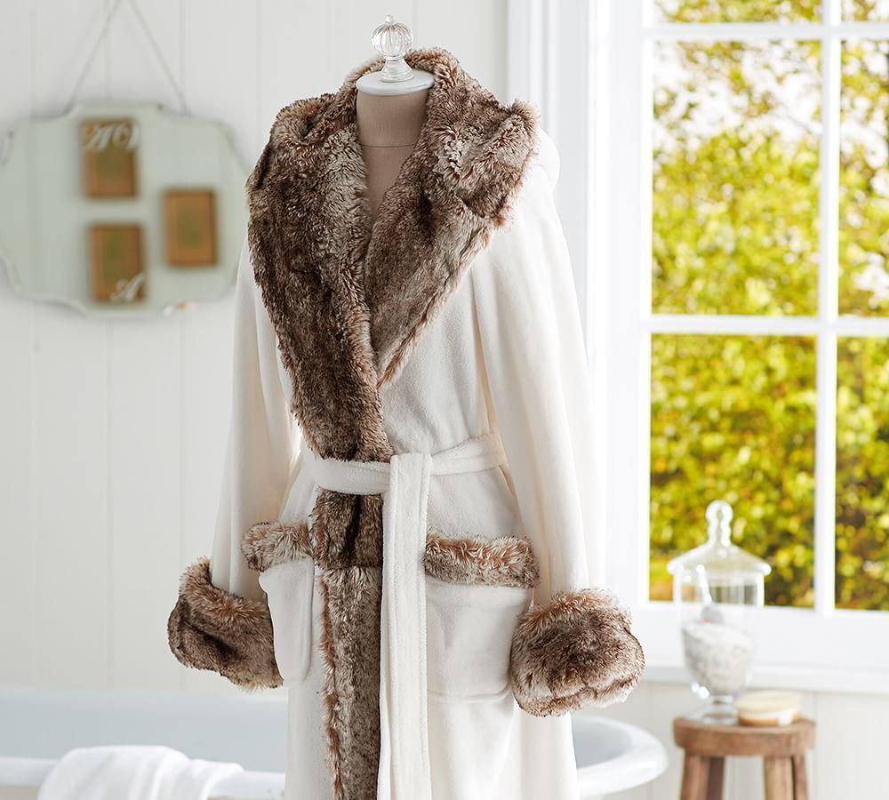 Cozy Fur Robe - Ivory/Caramel Ombre