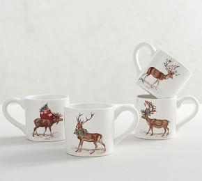 Silly Stag Mugs, Mixed Set of 4