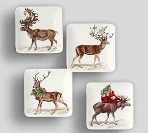 Silly Stag Appetiser Plate, Mixed Set of 4