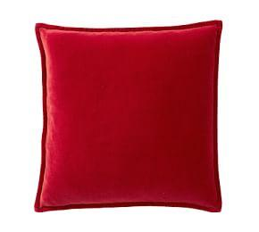 Washed Velvet Cushion Cover - Cherry