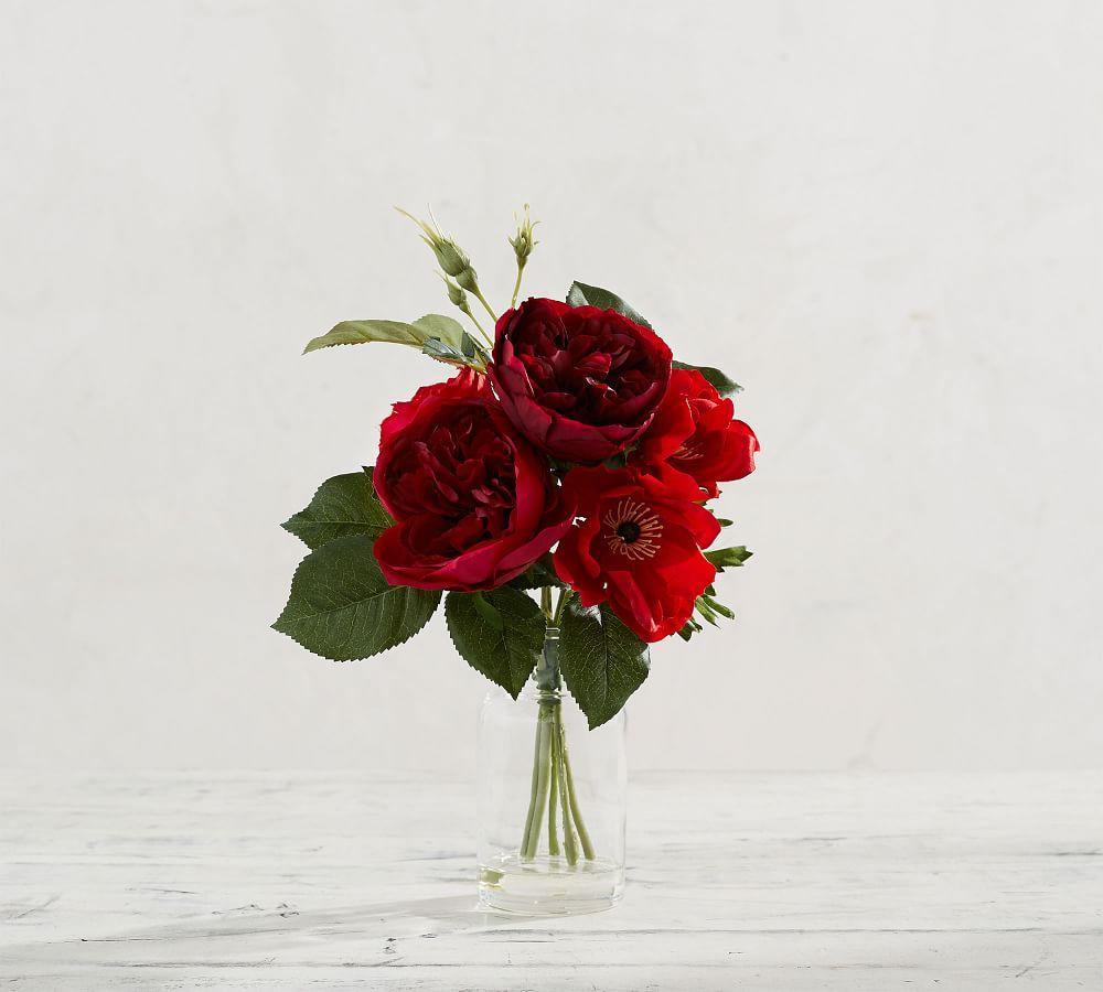Faux Rose & Poppy Arrangement in Vase