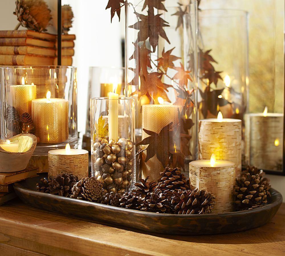 Premium Flicker Flameless Birch Wax Pillar Candle