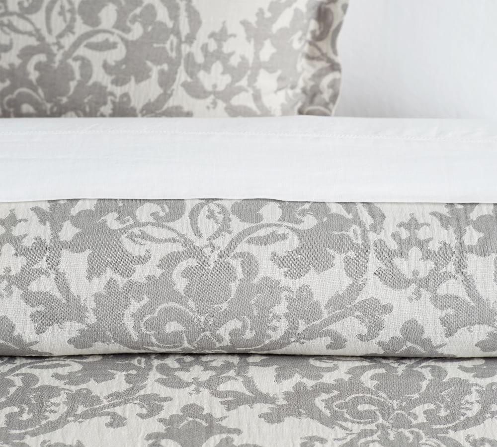 Jacquard Linen Medallion Quilt Cover Amp Pillowcases Grey
