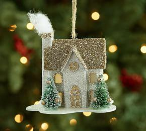 Lit German Glitter House Ornament