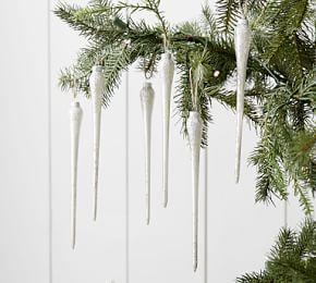 Mercury Glass Icicle Ornament Set of 6