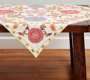 Willow Embroidered Floral Table Throw