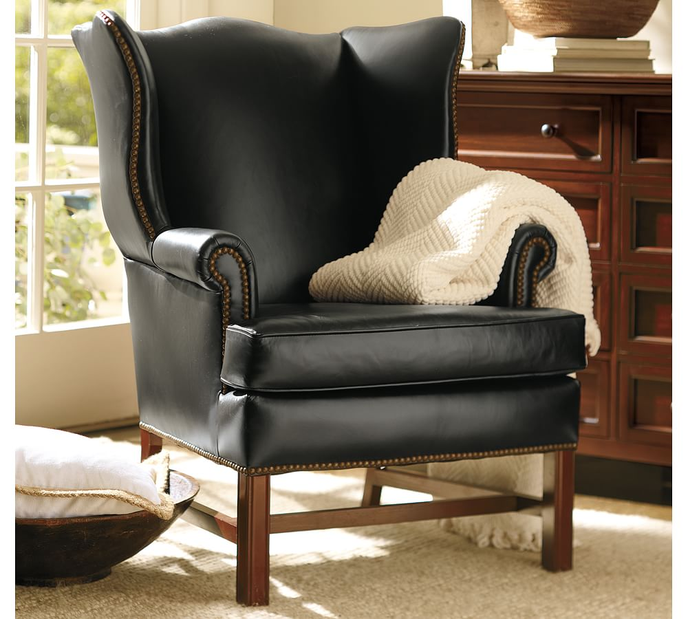Thatcher Leather Wingback Chair - Black