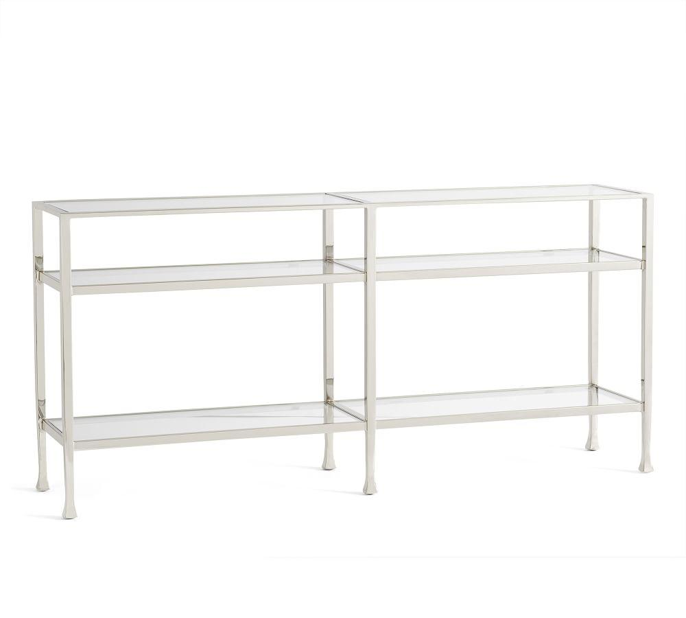 Tanner Long Console Table Polished Nickel Finish
