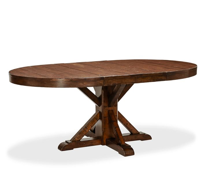 Benchwright Extending Round Dining Table - Rustic Mahogany (122 - 183 cm)