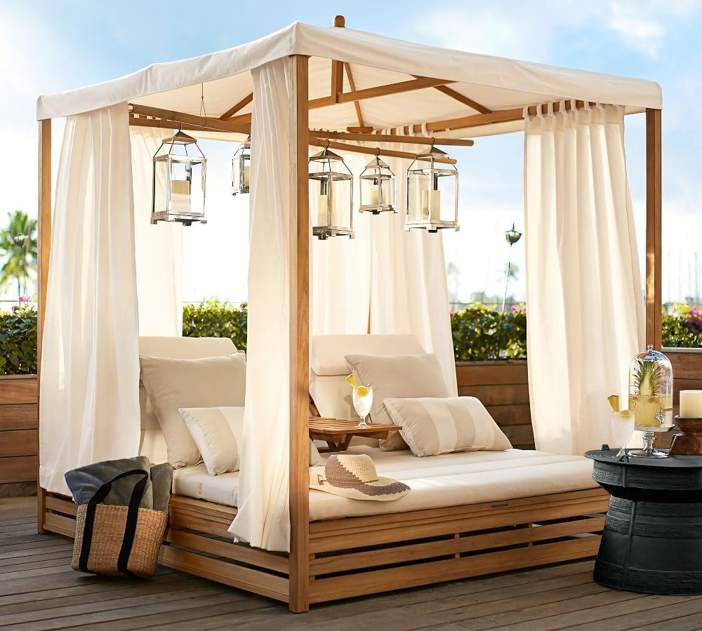 Madera Teak Daybed Double Chaise with Canopy