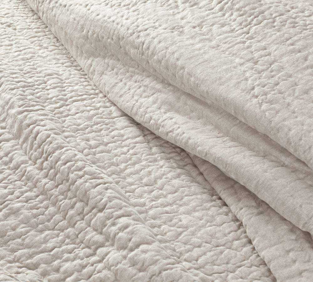 Belgian Flax Linen Hand Stitched Coverlet & Pillowcases-Flax