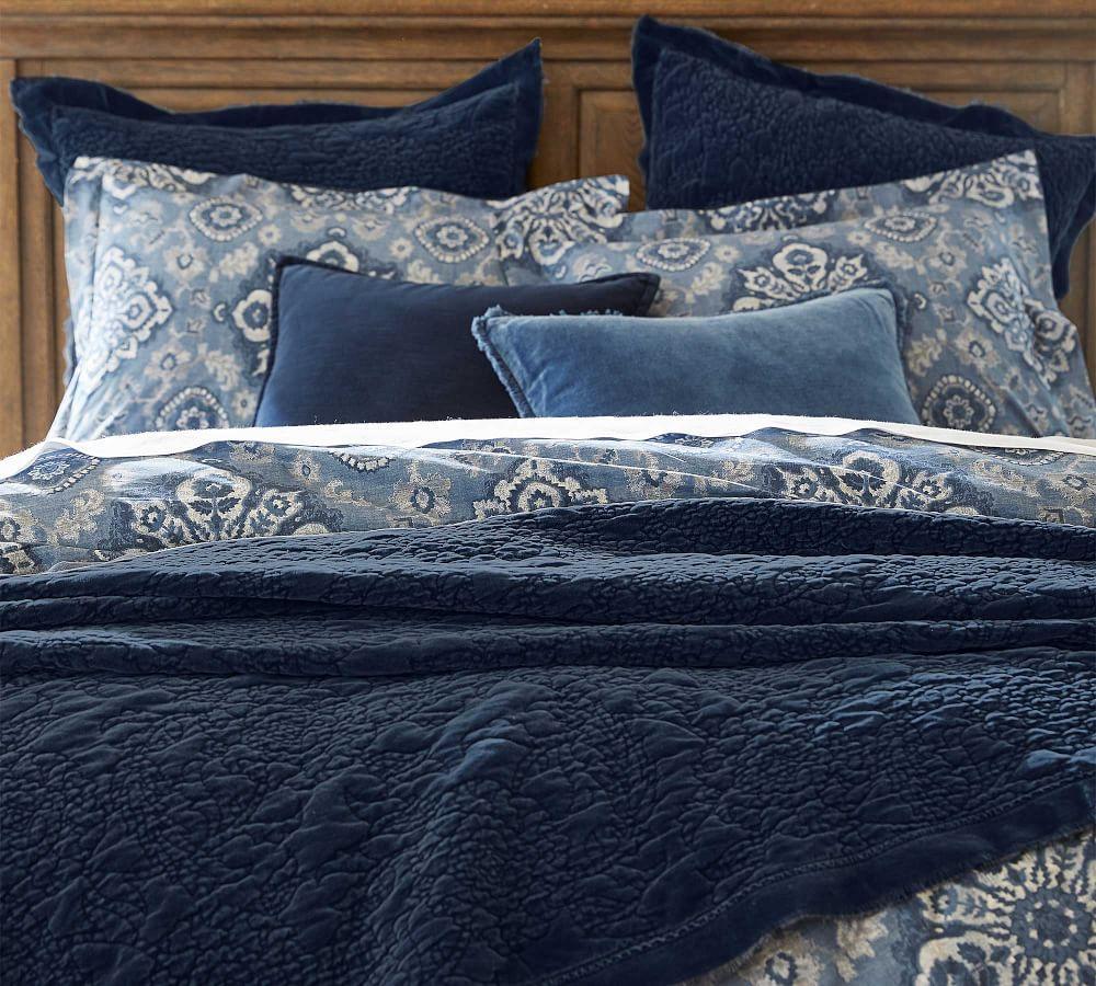 Velvet Floral Coverlet & Pillowcases - Flagstone