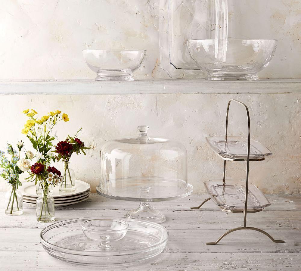 Grace Pressed Glass Cake Stand & Dome