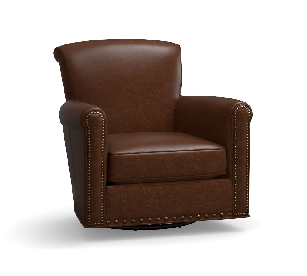 Irving Leather Swivel Armchair with Nailheads