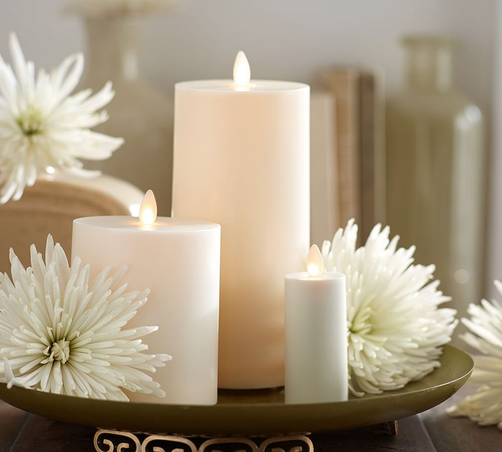 Premium Flickering Flameless Outdoor Pillar Candle, Ivory