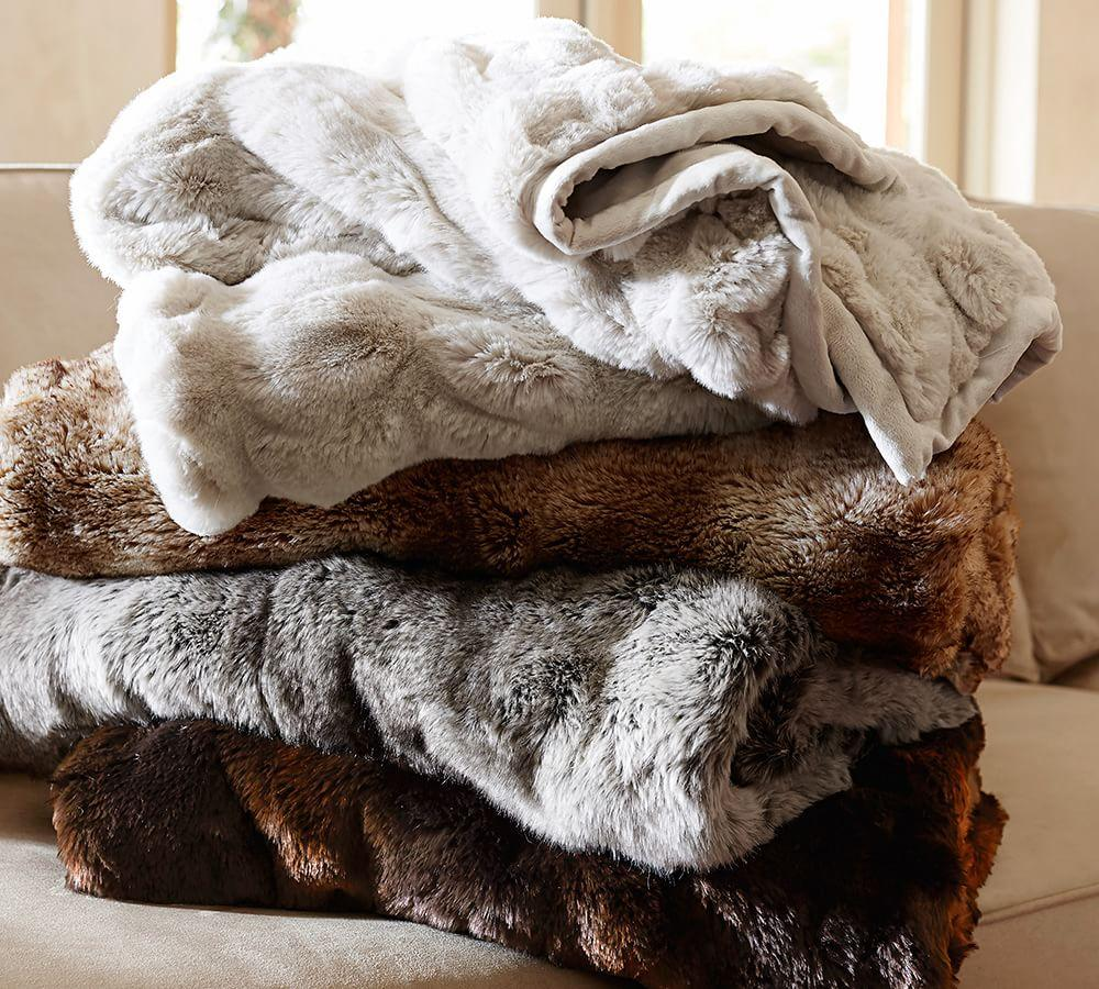 Faux Fur Throw Grey Ombre Pottery Barn Au