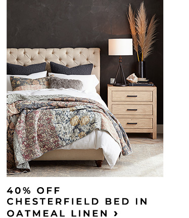 40% Off Chesterfield Bed In Oatmeal Linen