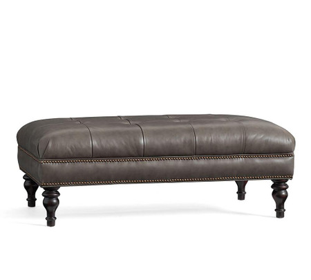 Martin Tufted Leather Ottoman