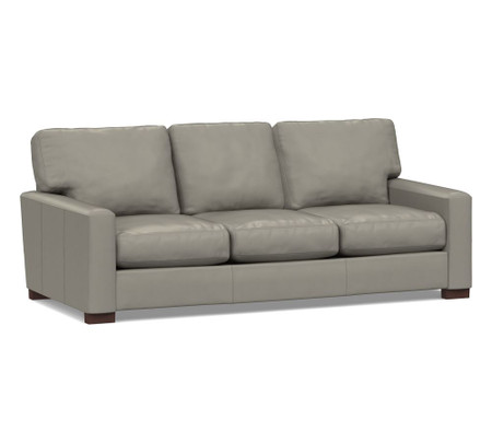 Turner Square Arm Leather Sofa - Nubuck Greystone (217 cm)