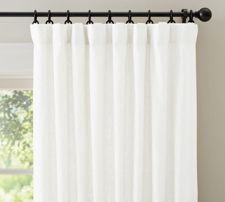 Emery Linen/Cotton Pole-Pocket Blackout Curtain - White