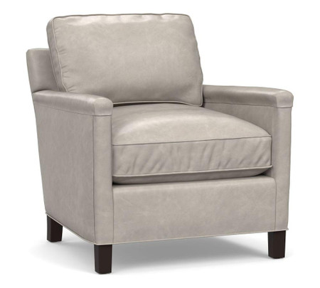 Tyler Leather Square Arm Armchair with Nailhead - Statesville Pebble