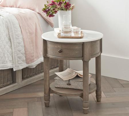 Alexandra Marble Round Bedside Table Pottery Barn Australia