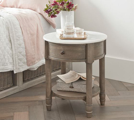 Alexandra Marble Round Bedside Table