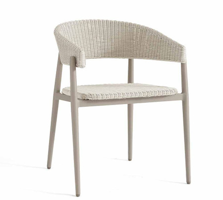 Antigua All-Weather Wicker Dining Armchair, Fog Grey