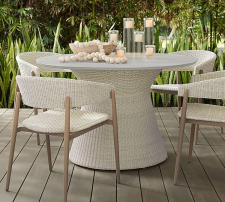 Antigua All-Weather Wicker Dining Table, Fog Grey