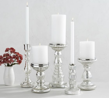 Antique Mercury Glass Candle Holders