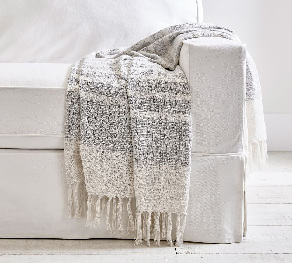 Avah Eco Friendly Striped Indoor Outdoor Throw Pottery