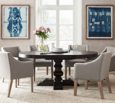 Banks Round Pedestal Extending Dining Table, Round Pub Table Canada