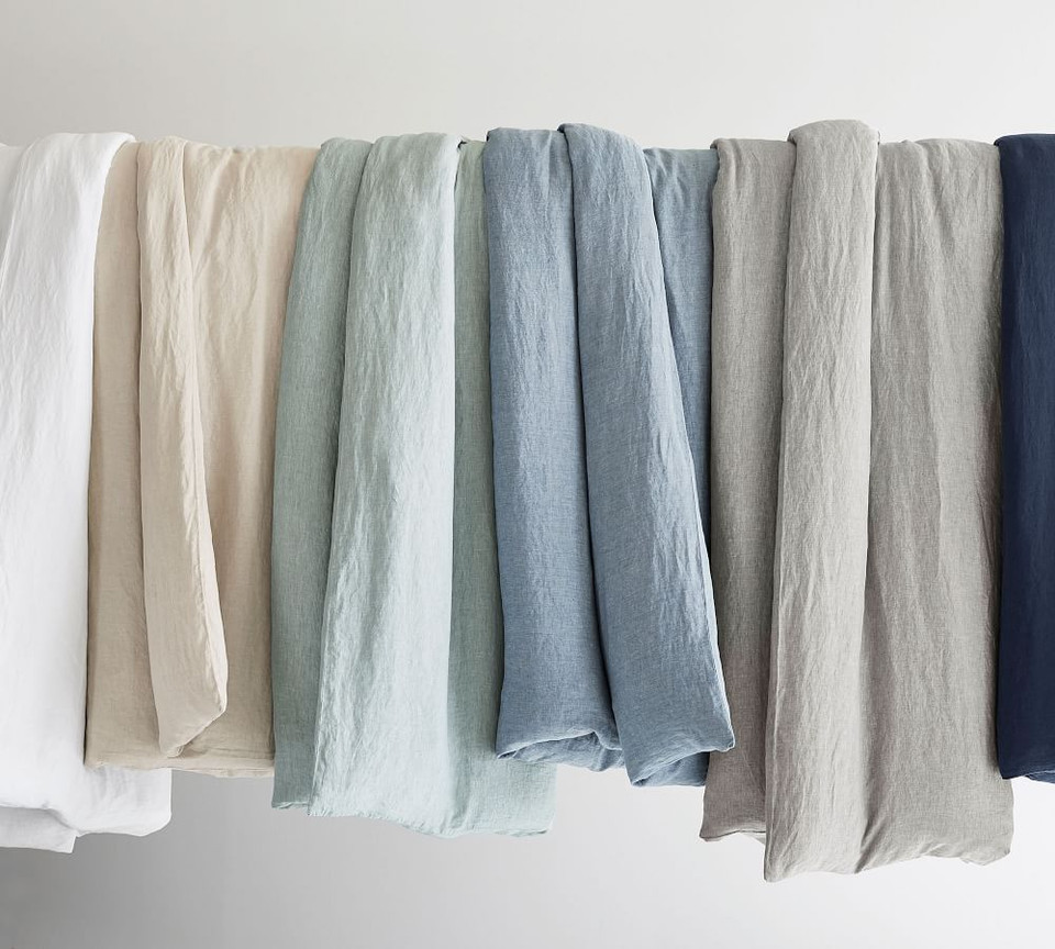 Belgian Flax Linen Quilt Cover & Pillowcases - Mineral Blue