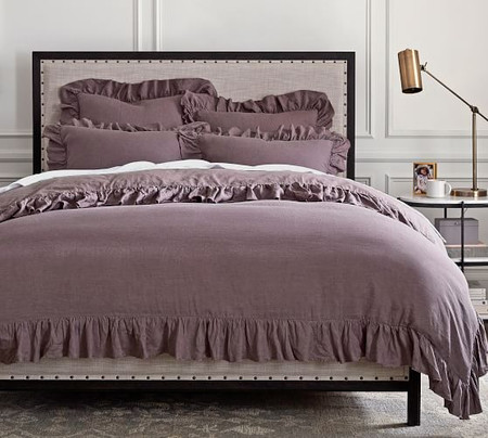 Belgian Flax Linen Fringe Ruffle Quilt Cover & Pillowcases - Fig