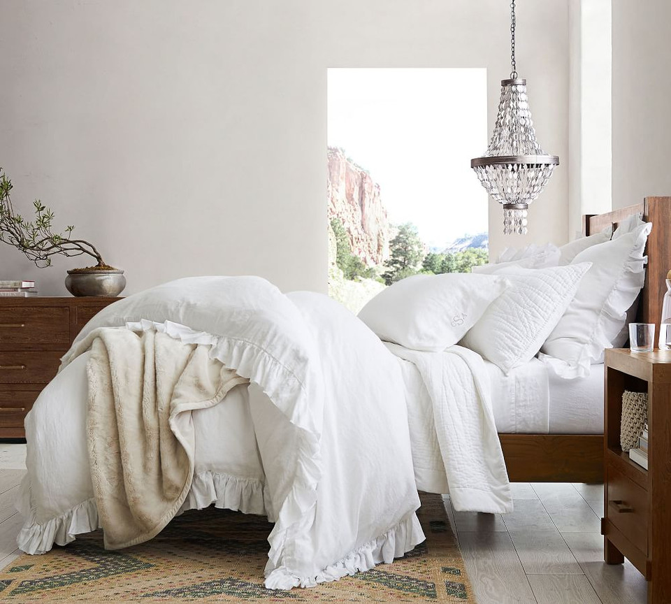 Belgian Flax Linen Handcrafted Coverlet & Pillowcases - White