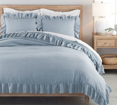 Belgian Flax Linen Fringe Ruffle Quilt Cover & Pillowcases - Chambray