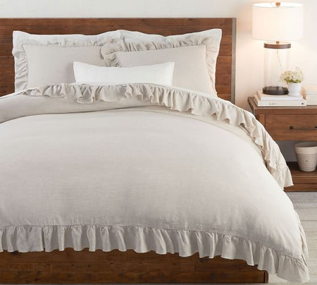 Belgian Linen Raw Edge Ruffle Quilt Cover & Pillowcases-Flax