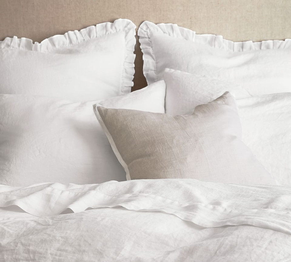 Belgian Flax Linen Fringe Ruffle Pillowcases Pottery
